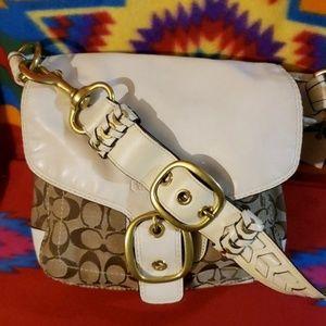 COACH BLEEKER Khaki/Wte Legacy Leather&Canvas Bag